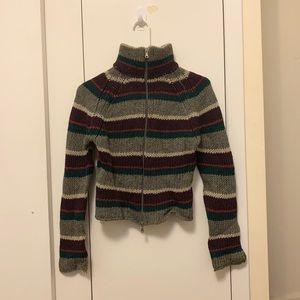 BENETTON Vintage Striped Wool Zip up Cardigan